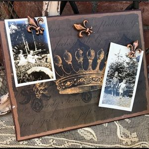 Metal Magnetic Board Including 2 Vintage Pics